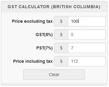 How Much Is Tax In Bc >> British Columbia Gst Calculator Gstcalculator Ca